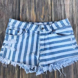 Roxy striped denim shorts size 27